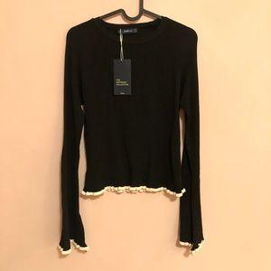 ZARA   Black Knit Bell Sleeve Sweater Size M